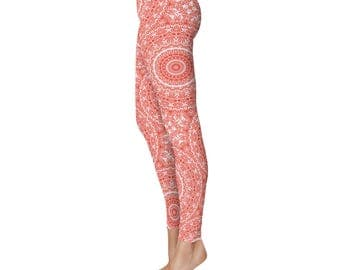 Patterned Yoga Leggings - Vermilion Red Leggings for Women, Mid Rise Waist Gym Pants