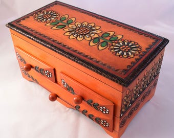 Handmade Wooden Jewellery Chest/ Keepsake Box/ Box with Drawers/ Keepsake Box/ Trinket Box / Hand carved box