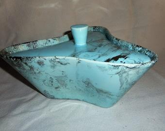 Atomic Eames Era Turquoise Boomerang Covered Ceramic Dish Silver Swirl Glaze Santa Anita Ware, Glendale, 1950s