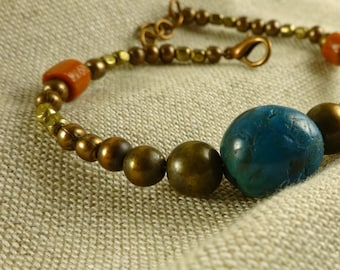 Niyah bracelet - Turquoise, brass and copper bracelet