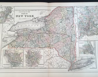 1894 County Map of New York State, Original Hand-Colored Map, Large Antique Map