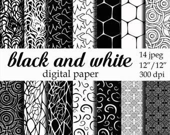 Black and White Digital Paper, scrapbooking, black and white background Instant download pattern Personal and Commercial Use
