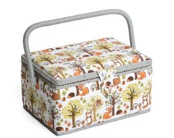 Hobbygift Woodland Pattern Sewing Basket Box