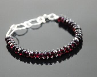 Silver bracelet Artisan bracelet Handmade jewelry Garnet bracelet