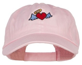 Heart Angel Embroidered Low Cap