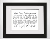 When I Say I Love You More|I Love You The Most|Real Gold Foil Print|Framed Foil Print|Wedding Gift For Couple|Engagement Gift For Fiance