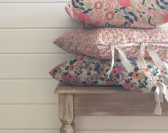 Farmhouse Pillow - Rifle Paper Co. Fabric