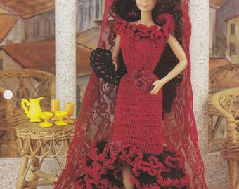 Spanish Rose, Annie's Attic Crochet Fashion Doll Clothes Pattern Leaflet FC31-02