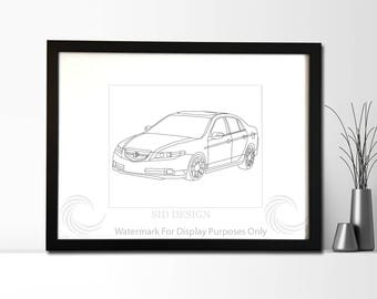 Acura TL Picture, Framed, Digital Art, Cars