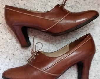 Glossy light brown leather shoes