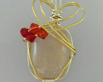 Rutilated quartz necklace, quartz pendant, wire wrapped jewelry, gemstone necklace, gift, healing crystals and stones, reiki, chakra stone