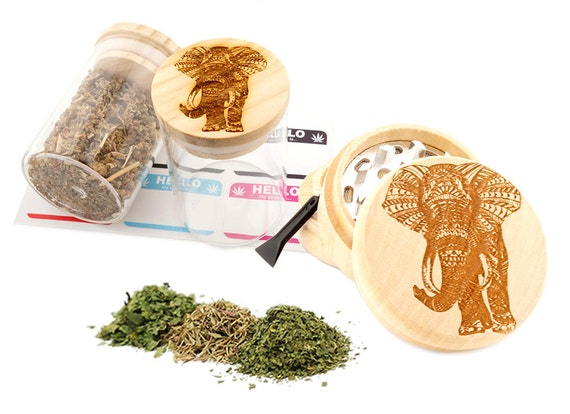 Elephant Engraved Premium Natural Wooden Grinder & Wood Lid Glass Jar Gift Set # GS103116-50