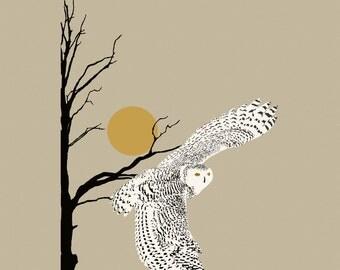 Digital art print of the snow owl, snow owl on canvas, snowy owl art,  beige background