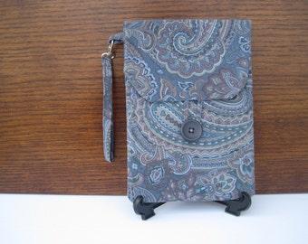 CLEARANCE Blue Kindle Case, Kindle Reader Cover Blue Paisley Wristlet Kindle Protector, Pouch for Kindle Accessories, Unique Case for Kindle