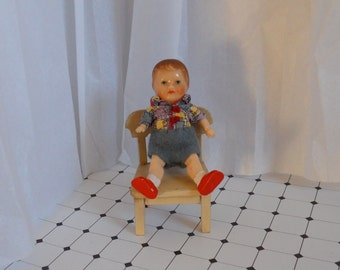 Small vintage boy doll, German doll, Celluloid doll, Small dressed doll, 1950s doll, Dollhouse doll, Vintage boy doll, Gift for her