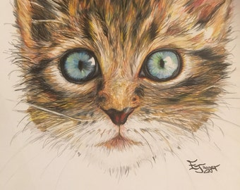 Cat Illustration-Coloured Pencil on Cartridge Paper-Size A3-Wall Art