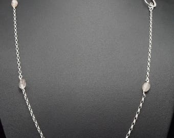 Sterling Silver 925 chain / 1,7 mm Flat Round Cable chain with Rutilated Quartz bead /