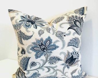 Floral pillow, blue floral pillow cover, Richloom blue pillow, floral decorative pillow, 18X18, 20X20, Richloom, Cottage decor, modern decor