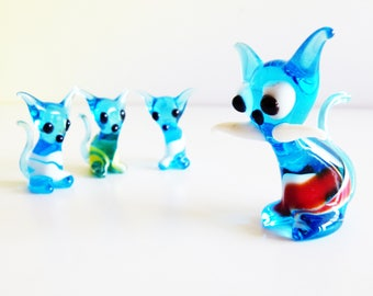 1 Hand-blown glass family of cats made in Murano in the '80s - glass art - blown glass art - home decor - nursery decor - children room