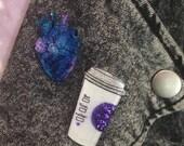 But First Coffee Pin | Latte Jewelry, Caffeine Fiend, Glitter Jewelry, Brooch, Lapel Pin