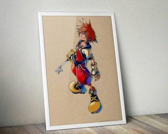 Sora Kingdom Hearts - Fine Art Print - A4