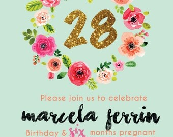 Floral Glitter Digital Birthday Invitation