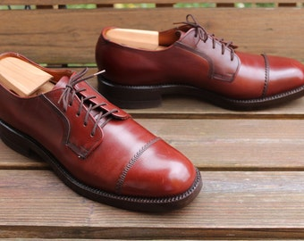 "Vintage 1980s ""The Hartt Shoe"" Captoe Gunboat Bluchers/Oxfords, Full Grain Burgundy Leather, Goodyear Welted, Men's 9.5 AA/A, Made in Canada"