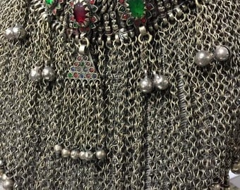 Vintage Hand Made tribal Bedouin woman silver necklace Natural Stone 22''L