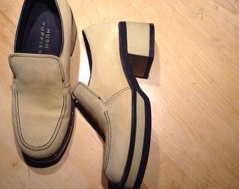 Sale /Men's disco shoes, platform shoes, 70 s disco shoes ,Austin power shoes ,sued retro groovy shoes , size 7 men shoes or size 8 women