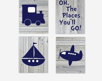 CANVAS Baby Boy Nursery Art Navy Blue Train Plane Airplane Boat Sailboat Oh The Place You'll Go Rustic Wood Canvas Prints CHOOSE COLORS