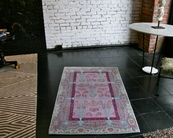 Nepalese hand-knotted rug by Tibetan weavers, Contemporary design, 3 x 5 ft.