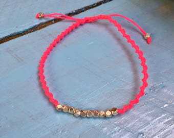 Bracelet link silver and neon pink