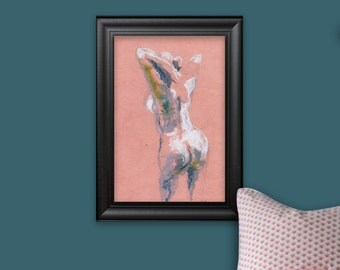 Naked. Drawing ink and pastel. Wall decoration