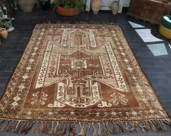 Free Shipping Floor Rug 5.8 x 8. Large Size Wool Rug Aztec Rug Boho Decor Rug Vintage Rug Ethnic Rug Boho Decor Area Rug