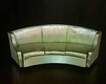 Vintage Dollhouse Furniture - Salon Curved Sofa/Couch - Petite Princess Dollhouse Furniture by Ideal