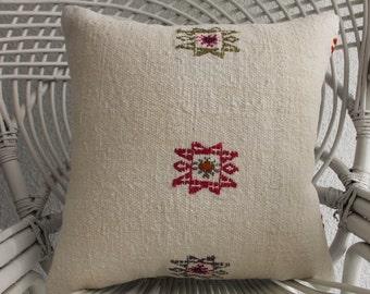 kilim pillows 16x16 kilim cushion white euro sham 16x16 outdoor pillow handwoven cotton kilim pillowase handmade Turkish kilim pillow 1253
