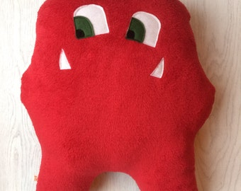 Friendly monster cushion, red monster, children's cuddly cushion