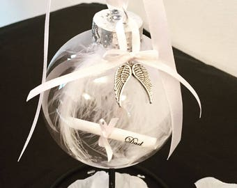 Memorial Bauble with Personalised Scroll / Remembrance Keepsake