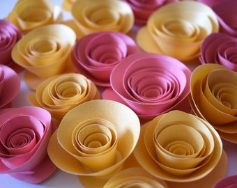 Coral Wedding, Coral and Gold Loose Paper Flowers, Wedding Flowers, Paper Roses