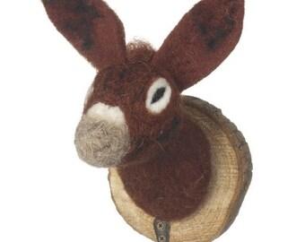 Fluffy Animal Wall Mounted Donkey Head Kids Coat Hook christmas gift