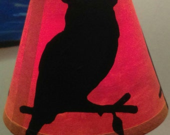 Owl silhouette hand painted lamp shade