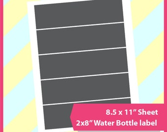 "Instant Download water bottle Template, PSD, PNG and SVG Formats,  8.5x11"" sheet,  Printable 015"