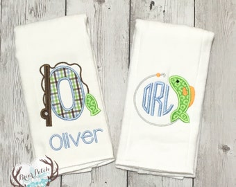 Personalized Fishing Burp Cloths, Monogrammed Baby Burp Cloths, Personalized Baby Burp Cloths, Baby Shower Gift, Boutique Baby, Set of 2