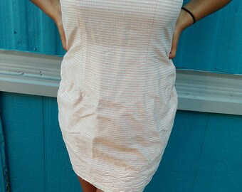 Gorgeous baby pink and white checkered vintage dress