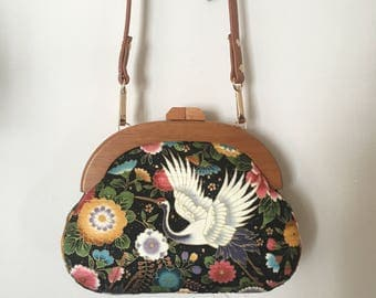 Hand-sewn Japanese Cotton Wooden Frame Bag