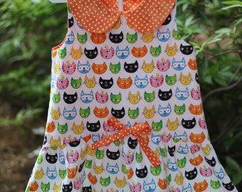 Girls sun dress,girls cat dress,toddler cat dress,toddler sundress,girls summer dress, girl polka dot dress,girls spring dress,little girl