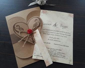 Kraft Floral Wedding Invitations | Vintage heart Wedding Invitation  Free shipping
