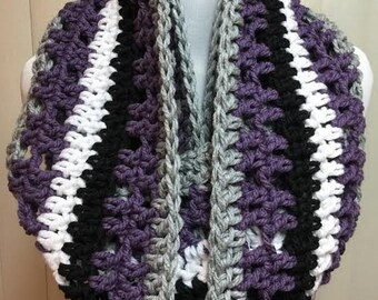 Purple and Black Scarf, Crochet Scarf, Purple Scarf, Infinity Scarf, Chunky Scarf, Extra Wide Scarf, Crocheted Scarf, Winter Scarf
