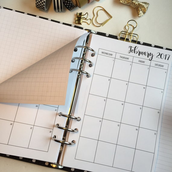Monthly On 2 Pages With Grid Printed Planner Inserts - Half Letter Size - Grid Between Months