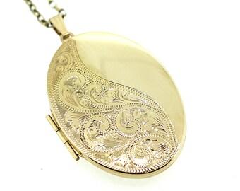 Vintage Gold Locket / Engraved Gold Locket / Locket Pendant / Floral Gold Locket / Opening Locket / Gold Keepsake Locket / Vintage Locket